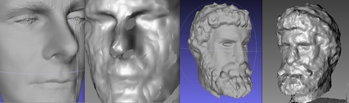 Scan data comparison: Fuel3D on the left and Kinect (aligned but un-merged meshes) on the right