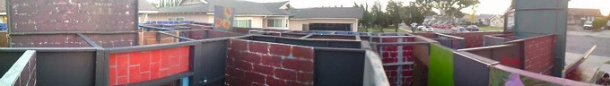 Before the roofing began. Yes...we roof the entire maze!