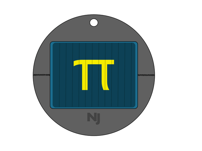 #nanojemspiproject complete design illustration of the million digits of pi pendant including the gold on crystal gem mounted on a silver pendant