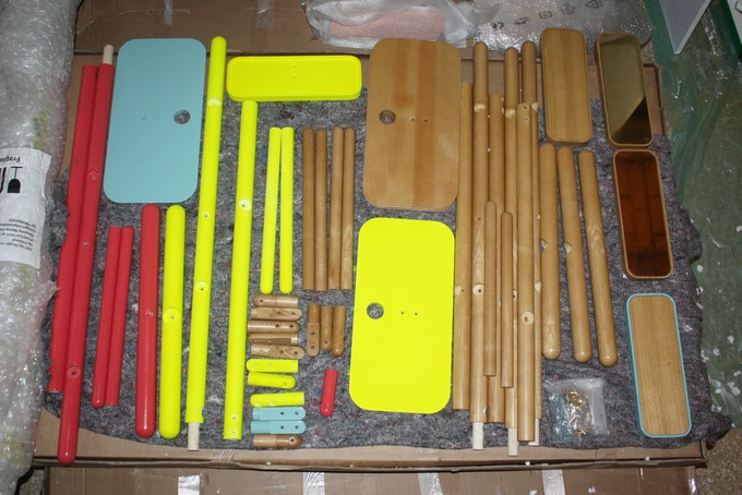 Camerino parts before being assembled for Salone del Mobile in Milan, April 2013