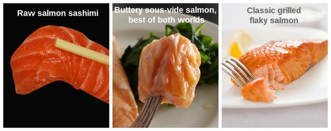 Do you like both salmon sashimi and the typical grilled salmon? With sous-vide cooking, you can achieve something amazing in between when salmon is lightly cooked to 45ºC/ 113ºF - it looks deceptively raw, yet tastes absolutely cooked and buttery!