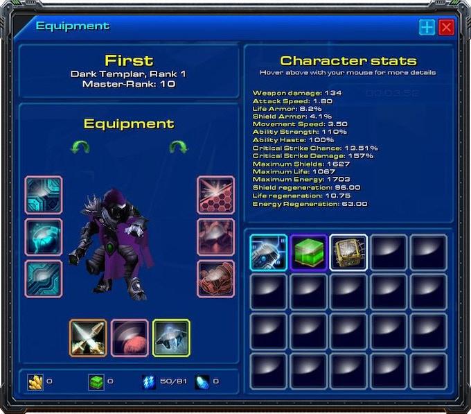The character equipment screen.