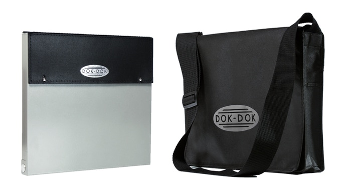 £95 pledge - DOK-DOK document scanner and case in SILVER GRAY finish plus the limited edition messenger bag at a great saving. Add £15 to ship outside the UK.