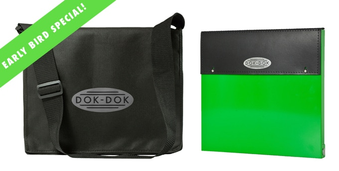 £80 pledge - Early bird special - DOK-DOK document scanner and case in limited edition KICKSTARTER GREEN finish plus the limited edition messenger bag at a huge saving. Add £15 to ship outside the UK.