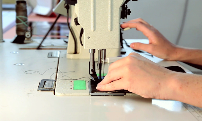 Sewing a prototype at our NYC studio