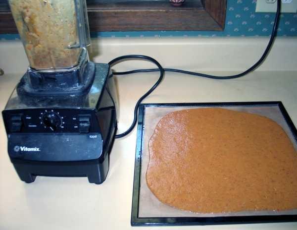 raw puree gravity spread onto non stick dehydrator tray