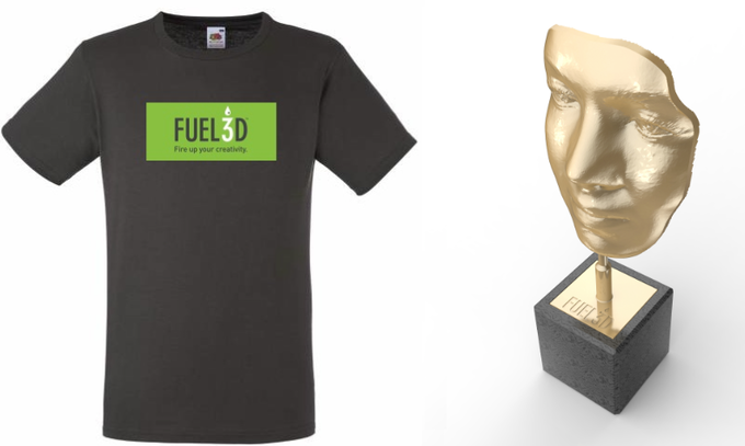 Fuel3D limited edition T-shirt and sculpture of Fuel3D face scan