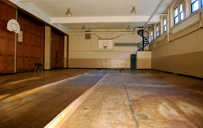 One of the basement basketball courts we used to play on - warped and cracked from the elements