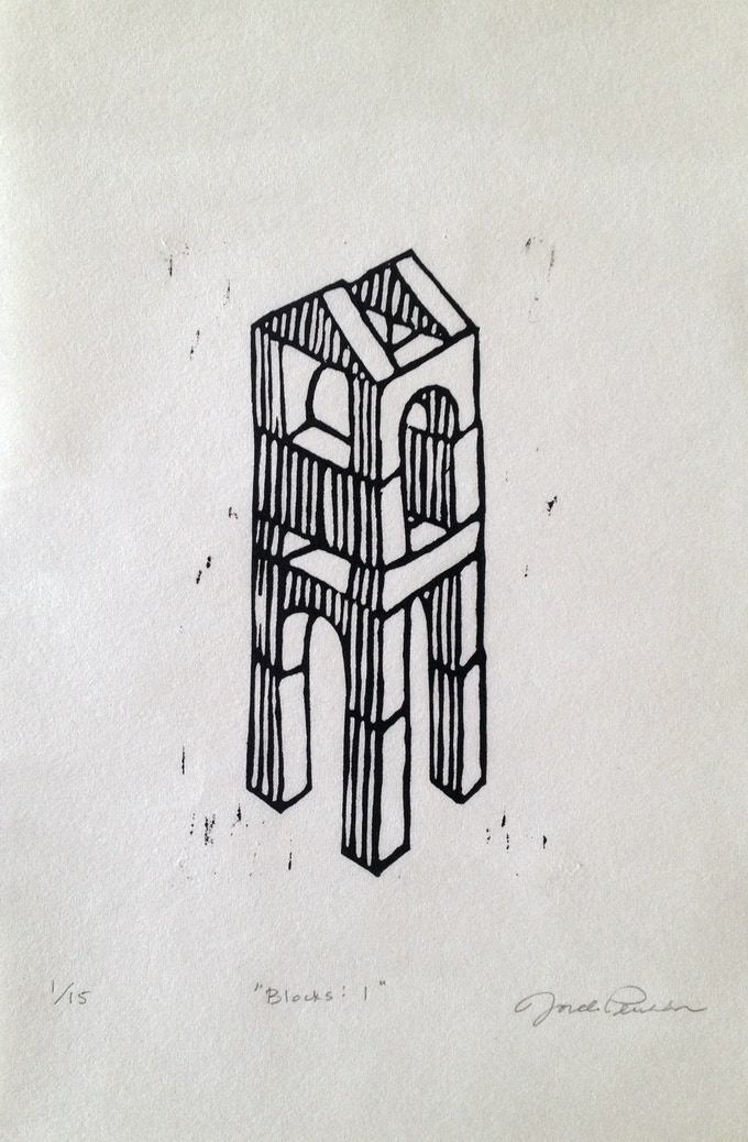 """Blocks: 1"", Linoleum print, 6 x 9 inches, editioned"