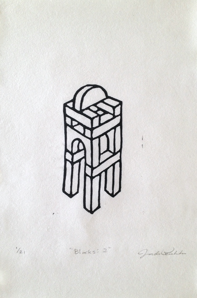 """Blocks: 2"", Linoleum print, 6 x 9 inches, editioned"