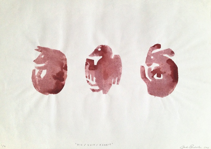 """Pig/Duck/Rabbit"", Potato print, 11.75 x 16.5 inches, editioned"