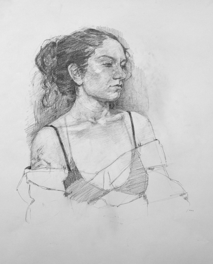 """Mary, Portrait"", Graphite, 18 x 23.5 inches"