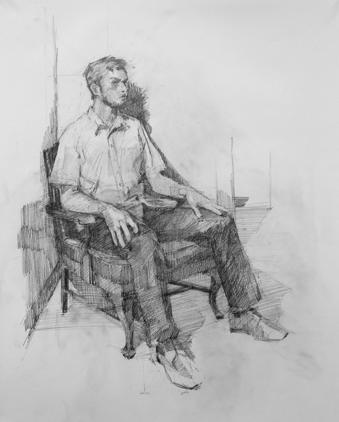 """Seated Figure"", Graphite, 18 x 23.5 inches"