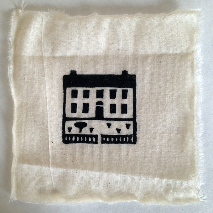 """My House"", Linoleum hand-printed muslin patch, 5 x 5 inches, Oil-based ink"