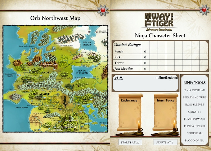 Partial revised map and character sheet.