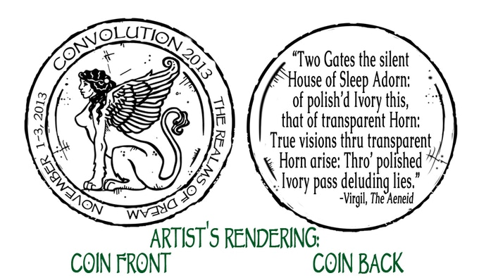 Artist's Rendering of the front and back imprint for our new Grace Coin Talisman reward