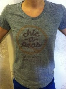 chic-a-peas t-shirt (front) printed on an american apparel tri-blend t-shirt.