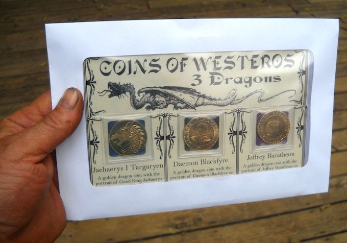 The dragon set, sleeved and in protective windowed envelope.