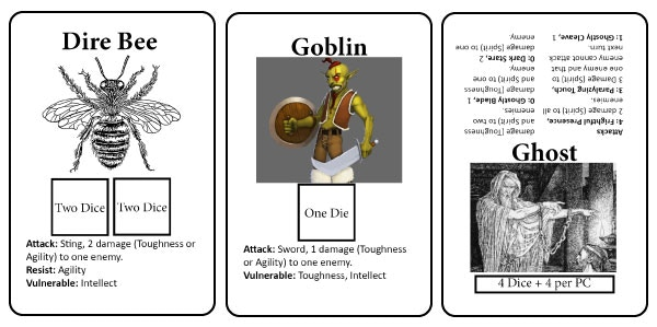 Prototype images for monster cards. Actaual cards will look different.