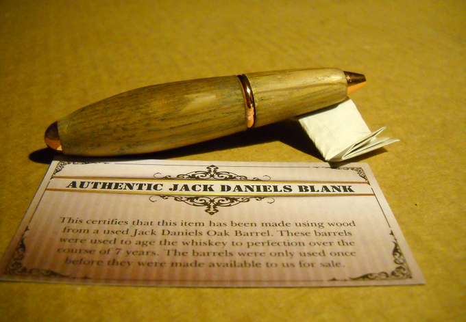 Mini-Bullet Twist Pen with Jack Daniel's Wood, Copper Hardware, and a Smooth Unpolished Finsih