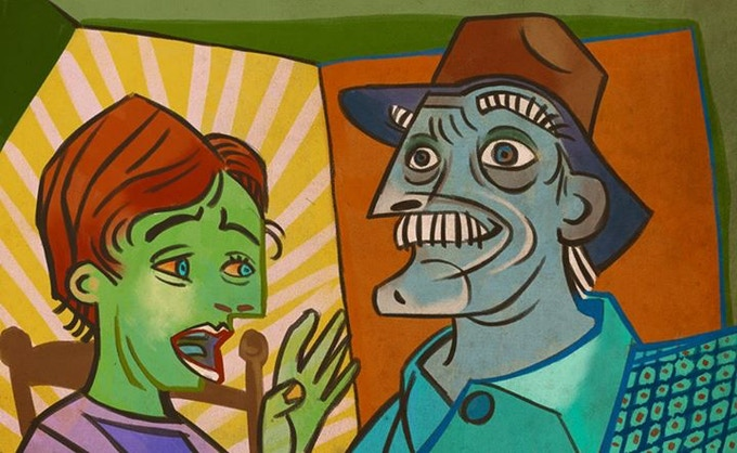 Walt with Grandpa freaking out in a Picasso-esque cubist world.