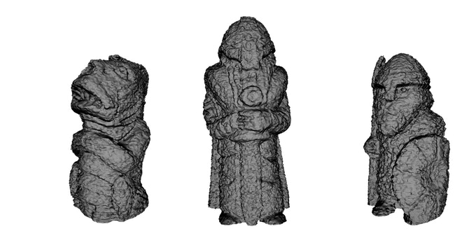 Visualizations of the .STL files for the three pieces in Cthulhu Vs. The Vikings.  The pieces are designed to look like old stone pieces - perfect for the 3D printing process we will use for production.