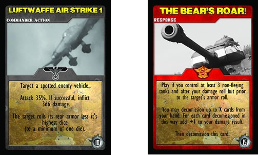 Red bordered cards are Russian Force Cards and Gray are German. Unleash powerful airstrikes or obliterate your opponent with a 100 pound shell!