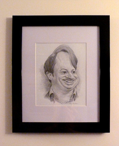 Framed David Mitchell sketch. Size of image 13 x 18cm. Size of frame 30 x 36cm.