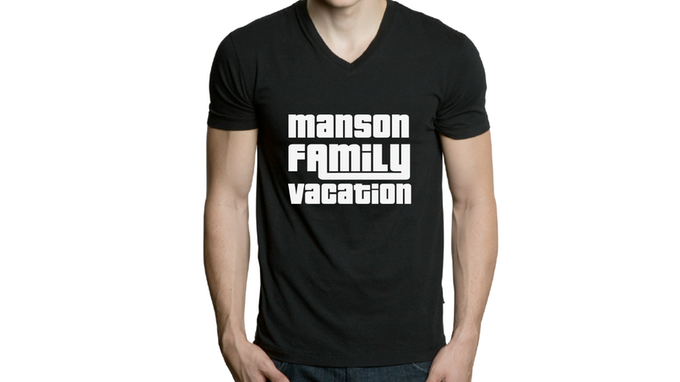 Original MANSON FAMILY VACATION T-shirt, hand silk-screened, your choice of size