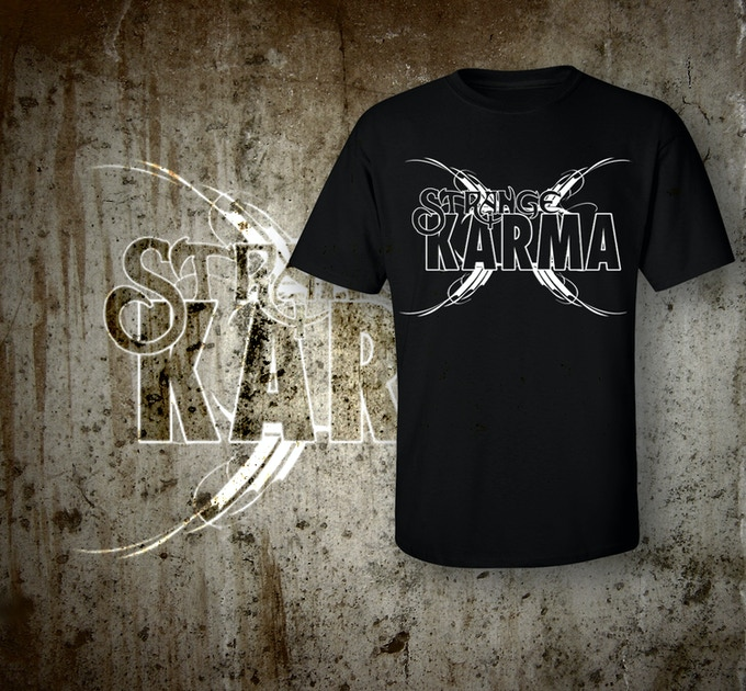 We're still designing the exclusive Strange Karma T-Shirts but in the mean time we wanted to show you a mock-up of what the shirt could look like.
