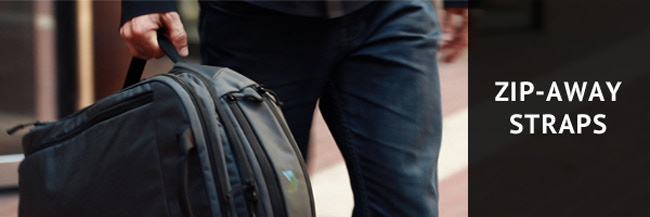 Rock the sleek duffel-style look by hiding the backpack straps in under 10 seconds.