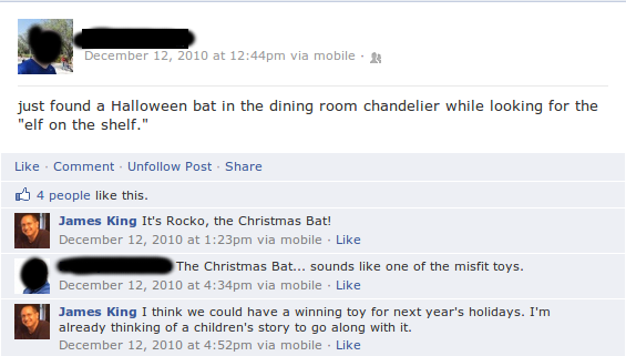 The post that inspired the creation of Rocko, the Christmas Bat