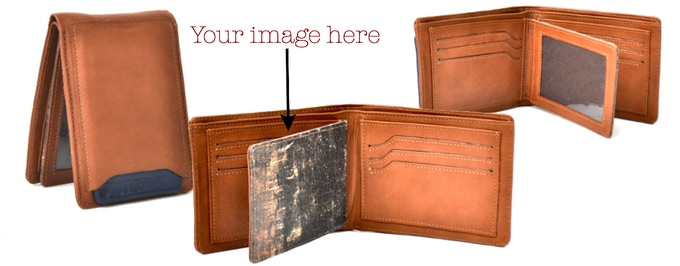 Leather Wallet with Exterior Pull Out Flap: RFID Anti-theft Blocking