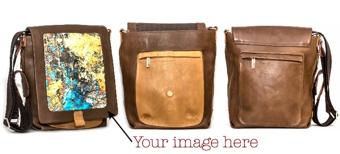 "Leather Crossbody Bag: 55"" Shoulder Strap, Exterior Magnetic Flap, Fits 13"" or Smaller Laptop"
