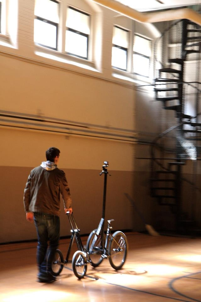 """Jason using """"Salvador Dolly"""" in one of the school's three gyms"""