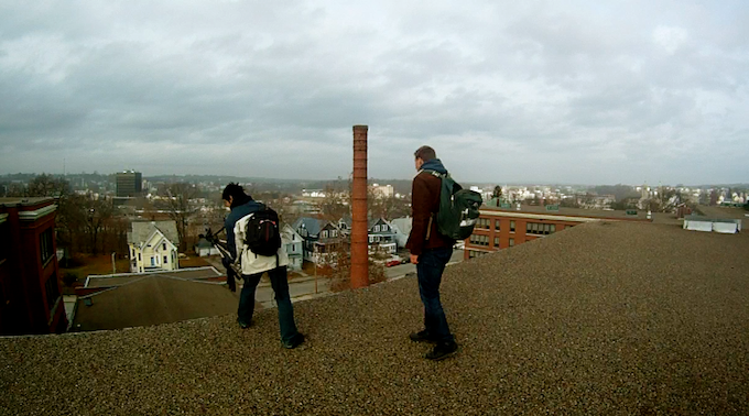 Looking over the edge of the massive 5 story school.
