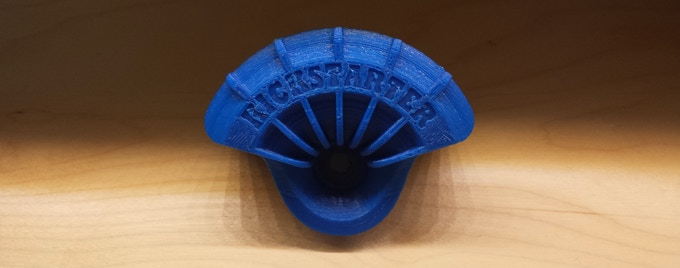 "Custom 3D printed Wheel Shields available as a reward! This one says ""Kickstarter"", but yours can say whatever you like. Printed from the same 3D printer used to prototype Wheel Shields!"