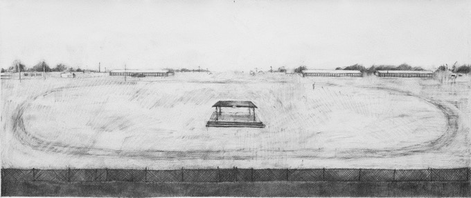 Racetrack (Adrian), Graphite, 11 x 26 inches
