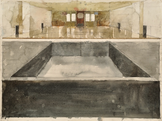 Gym / Pool (Tecumseh / Asheville), Graphite and watercolor, 16.5 x 22 inches