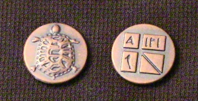 """The """"Aegina"""" (quantity 20). Inspired by coined money from the isle of Aegina, the earliest Greek city-state to use coined money."""