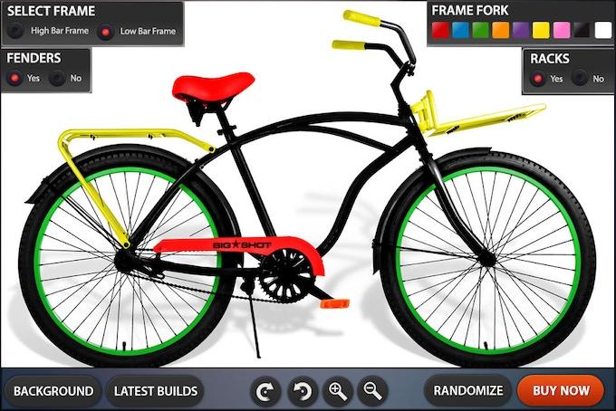 Customization Tool GUI Design High Bar Bike