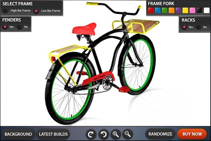 Customization Tool GUI Design High Bar Bike - Rotation