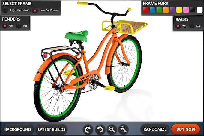 Customization Tool GUI Design Low Bar Bike - Rotation