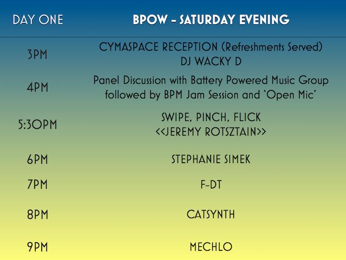 BPOW Day One: Saturday Evening Schedule