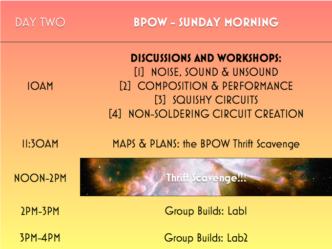 BPOW Day Two: Sunday Morning Schedule