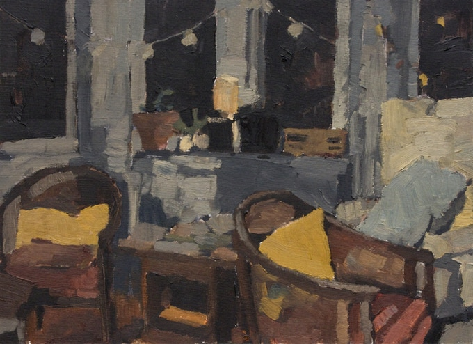 Living room at night, Oil on paper, 9.5 x 12.5 inches
