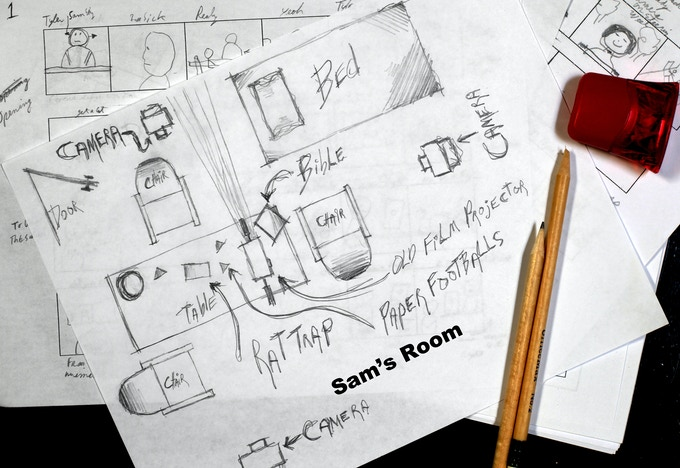 Here's a rough sketch of Sam's room along with some storyboards.