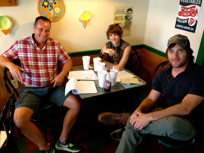 Pre-Production Meeting for IS THERE ANYONE OUT THERE? - Greg Peters, J.R. Fleming, and Jonathan Hal Reynolds (left to right)