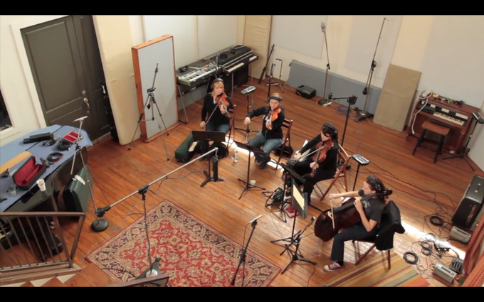 Tosca String Quartet recording the score for IS THERE ANYONE OUT THERE?