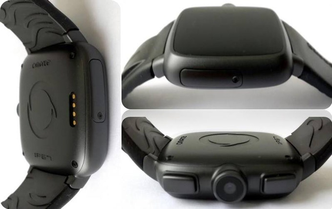 Black Metal Casing with Silicone strap - protective and durable, encases the entire smartwatch phone in a watertight seal according to IP67 water-resistant & dustproof standards. Even the charging connectors are special water-resistant connectors